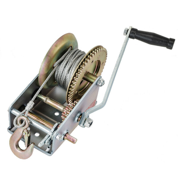 3500lbs Dual Gear Winch Hand Crank Manual 33ft Cable Boat ATV RV Trailer $40.99