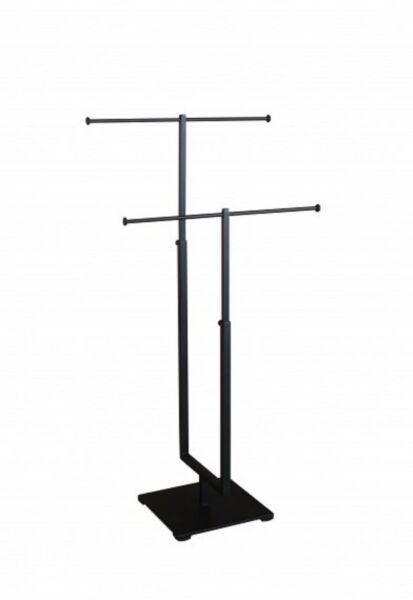 T-bar Adjustable Jewelry Stand Necklace Bracelet Tree Display 2 Tier- Black