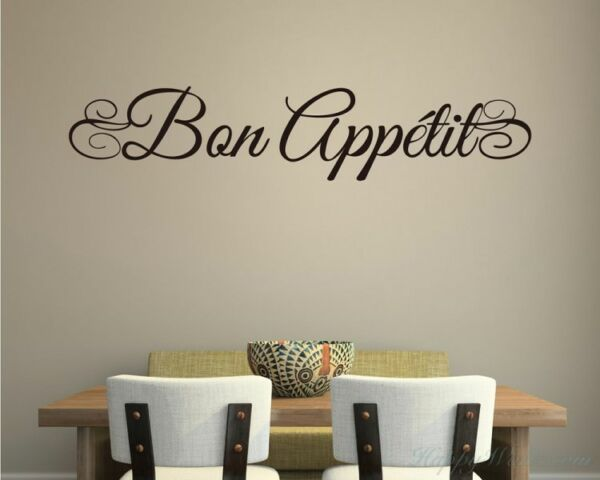 BON APPETIT Kitchen Cafe Home Wall Art Decal Quote Decor Words Lettering Design