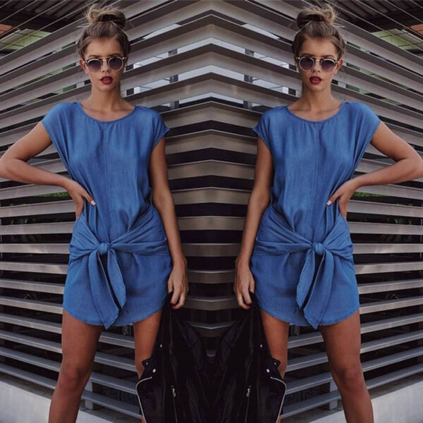 Sexy Summer Womens Short Sleeve Jeans Long T shirt Casual Denim Mini Dress SH