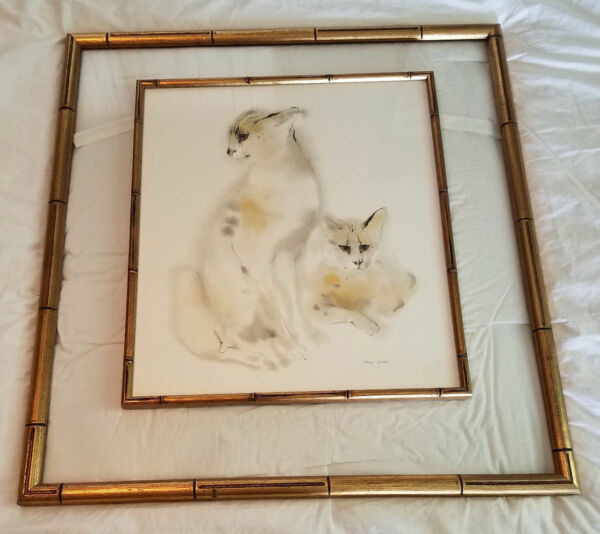 RARE FAUX BAMBOO DOUBLE FRAMED SIGNED MEYER GARLEN SIAMESE CATS29 X 27 inches