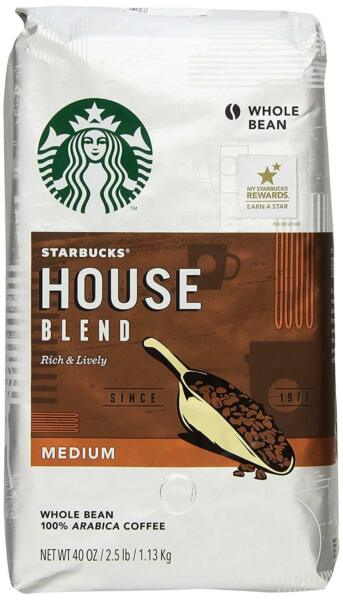 STARBUCKS HOUSE BLEND WHOLE BEAN COFFEE MEDIUM 12OZ PACK OF 3