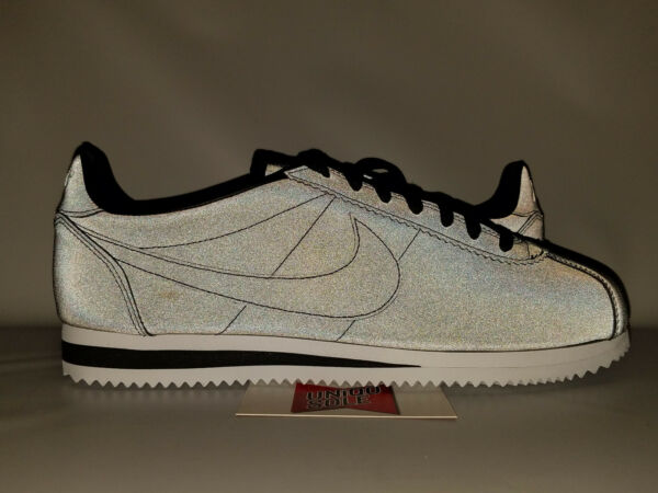 Nike Classic Cortez BLACK 3M REFLECTIVE WHITE GREY 902801-100 10.5 forrest gump