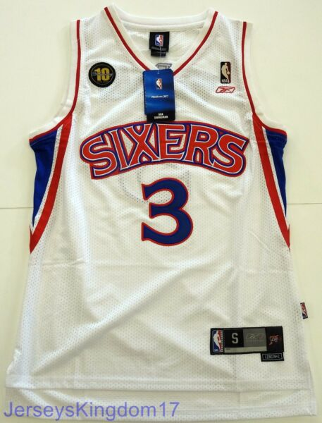 Throwback Jersey ALLEN IVERSON 3 Philadelphia 76ers White  Blue  Red Mens NWT