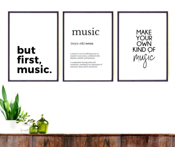 3 x  quote print set  - Music lovers wall art- Gift   - new home