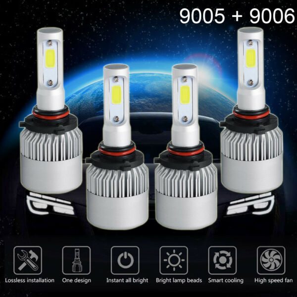 9005+9006 6000K 2600W 195000LM Combo CREE LED Headlight Kit High Low Light Bulbs