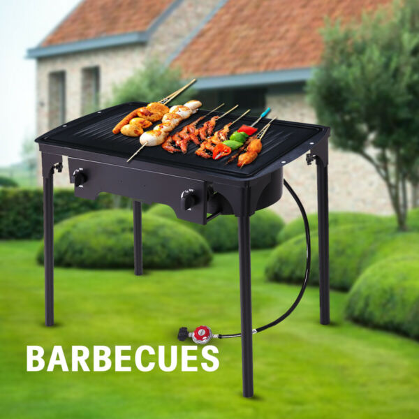 Double Burner Gas Propane Cooker BBQ Grill Outdoor Camping Picnic Stove Stand