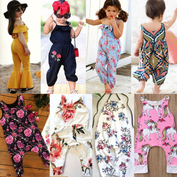 Newborn Kids Baby Girl Floral Romper Jumpsuit Playsuit Clothes Outfits Summer US