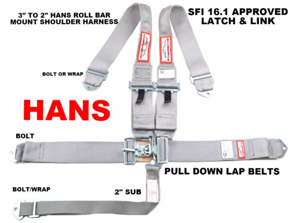 HANS RACING SAFETY HARNESS SFI 16.1 RACING 5 POINT ROLL BAR MOUNT 3