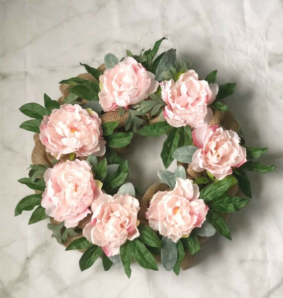 Spring Door Wreath Peony Summer Decor Handmade Burlap Floral Seasonal 18