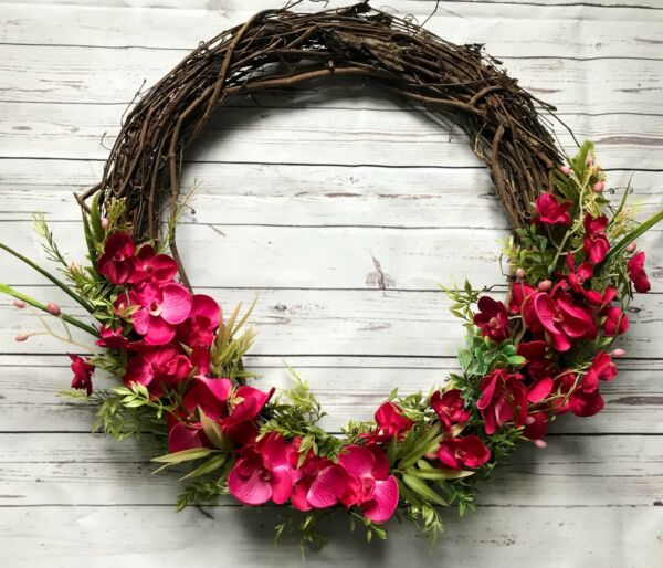 Orchid Door Wreath Spring Summer Decor Handmade Burlap Floral Seasonal Design