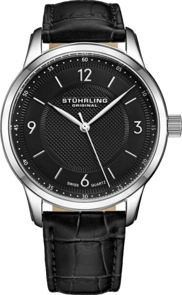 STUHRLING MEN#x27;S CLASSIQUE 40MM BLACK STEEL CASE SWISS QUARTZ WATCH 572.02