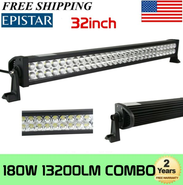 32quot;inch 405W Tri Row LED Work Light Bar Offroad Combo Truck SUV Boat 4X4WD Ford