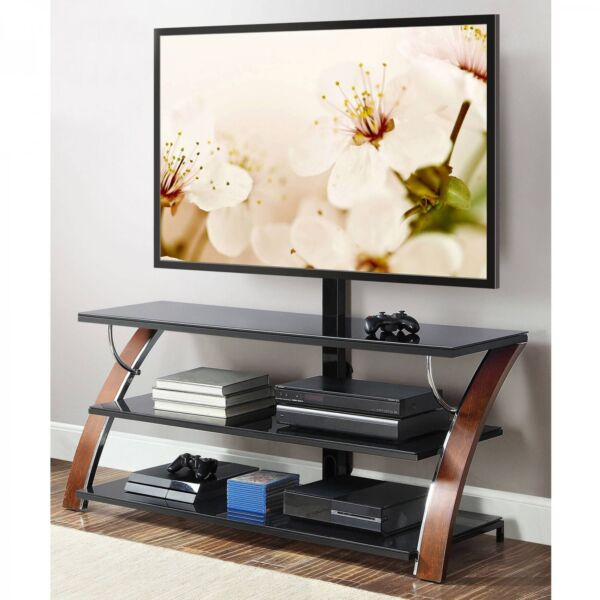 Whalen Brown Cherry 3-in-1 Tv Flat Panel Stand Tvs Up 65 W Shelves Wooden Inches