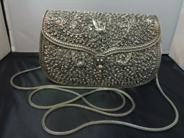 Floral Handmade Shoulder BagClutch( 925 Sterling Silver)