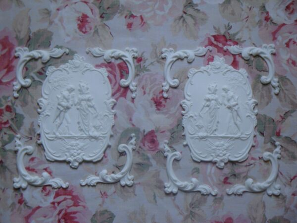 New! RomanticCourting Man Woman*Cherub Scroll Furniture Applique Pediment Panel  $54.95