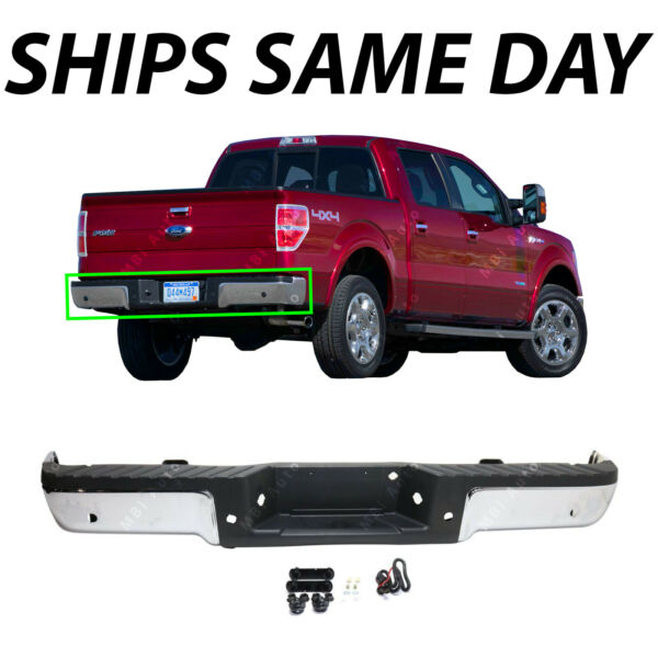 NEW Chrome Complete Rear Steel Bumper Assembly for 2009 2014 Ford F150 w Park $286.96