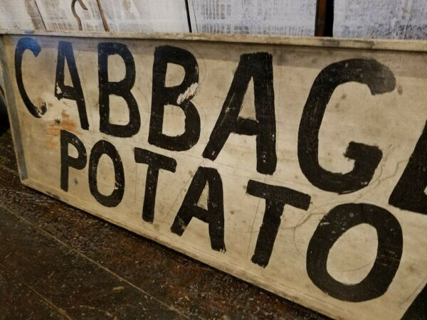 Antique Double Sided Produce Stand Trade Sign Cabbage Potatoes