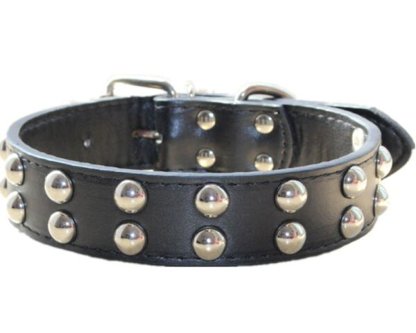 1.2quot; Leather Dog Collar Spiked Studded Collar Medium Large Breed Pitbull Terrier $10.44