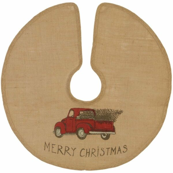 MERRY CHRISTMAS Red Pickup Truck Burlap Christmas Tree Skirt Choose Your Size