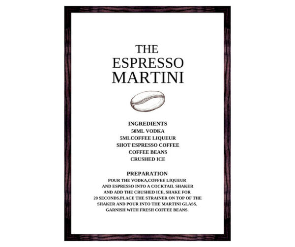 Kitchen cocktail print - espresso martini recipe wall art -  coffee lover