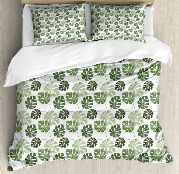 Abstract Leaves Duvet Cover Set Twin Queen King Sizes with Pillow Shams