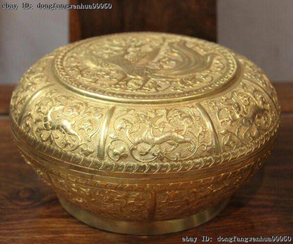 4''Tibetan Handmade engraved Copper Gilt Dragon Phoenix jewel case Jewellery Box
