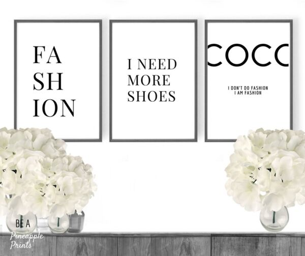 Set of 3 Fashion quote prints  - dressing room wall art pictures - new home