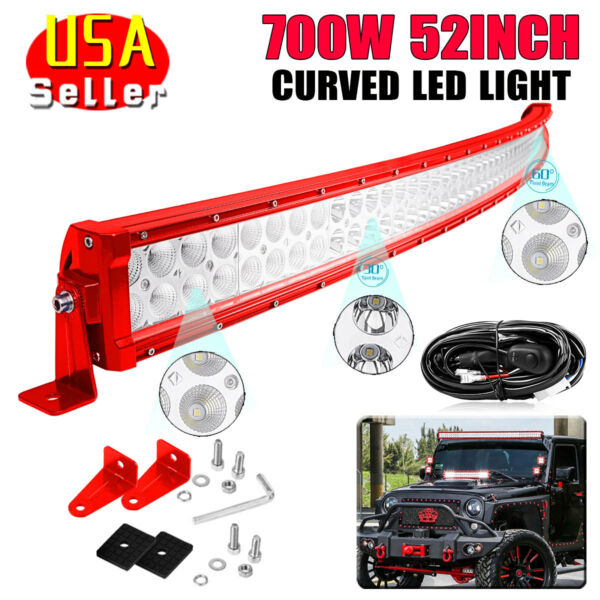 52quot; 700W Red LED LIGHT BAR FLOOD SPOT COMBO OFFROAD DRIVING 4WD Boat Free Wiring
