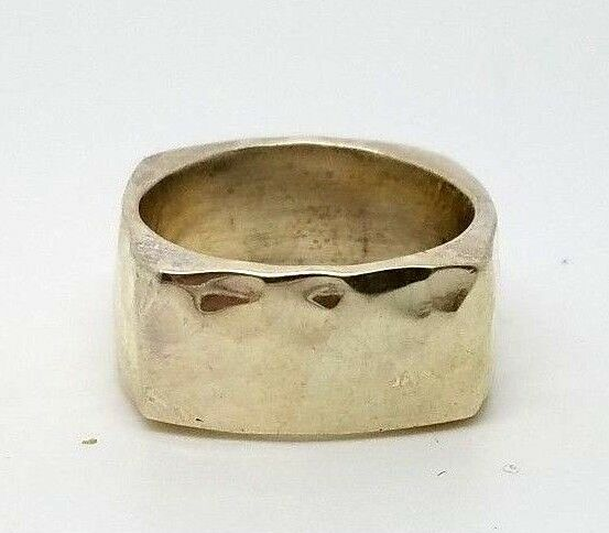Heavy Mexico Sterling Silver 925 Modern Hammered Square Band Ring Size 7.5 $39.99