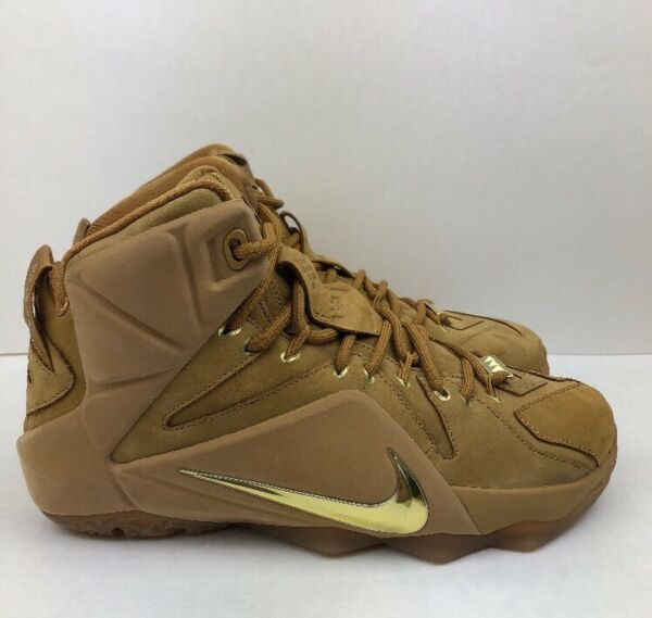 Nike Lebron XII 12 Size 7 Basketball Shoes EXT QS Wheat Metallic Gold Gum OG