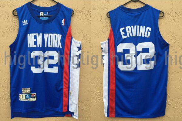 NWT Julius Erving 32 NBA New York Nets Swingman Jersey Throwback Man Blue