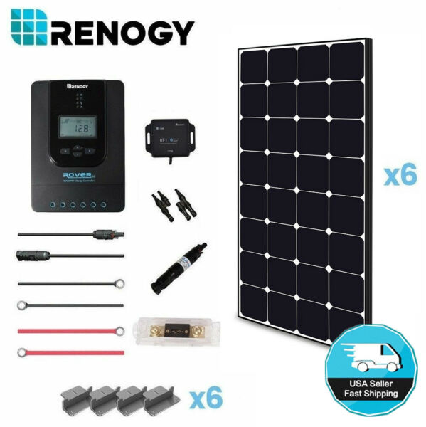 Renogy 600W 24V Eclipse Solar Panel Premium Kit 40A MPPT RV Home Battery Charger