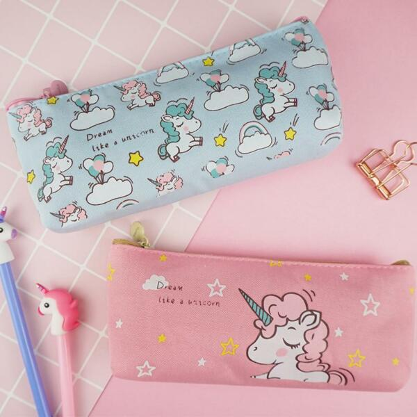Girls Pencil Case with Unicorn Print School Stationary for Teen Girls $7.50