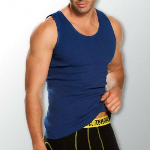 Mens 3 Pack Tradie S-2XL Pure Cotton Tank Singlets Navy Blue Work Leisure Wear