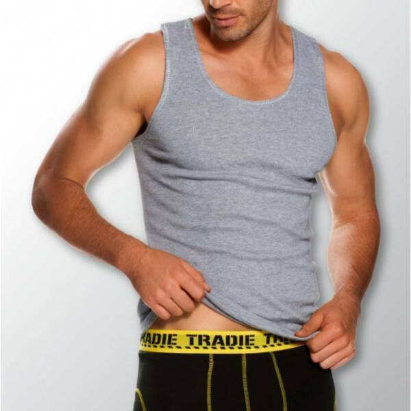 Mens 3 Pack Tradie S-2XL Pure Cotton Tank Singlets Grey Work or Leisure Wear