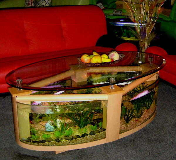 oval shape coffee table aquarium with everything needed