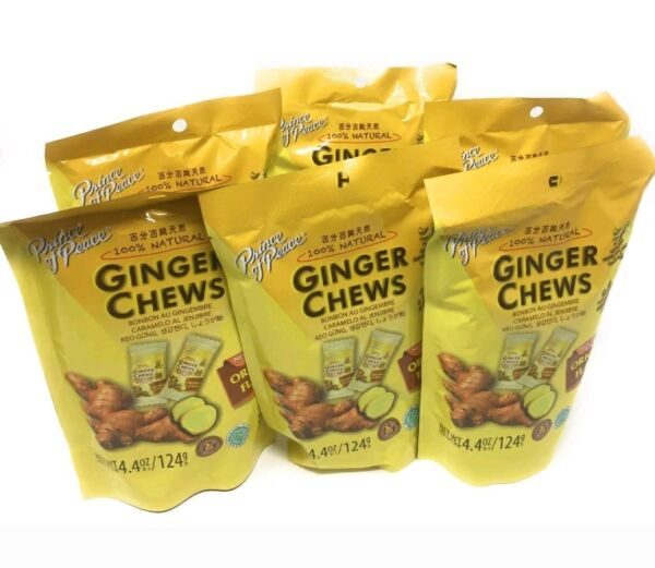 6 Bags - Prince Of Peace 100% Natural Ginger Candy Chews Lemon orange