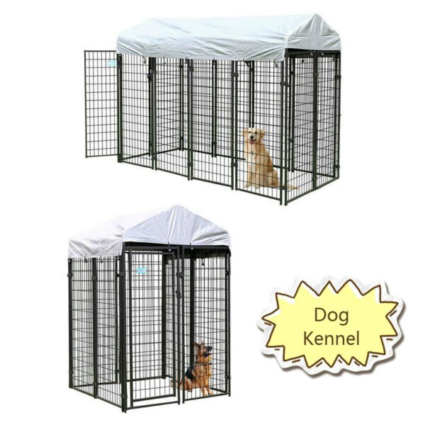 Dog Kennel Steel Wire Outdoor Heavy Duty Pet Cage Pen Run House w Shade Shelter