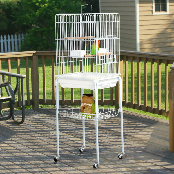 Metal Rolling Mid- Sized  Parrot Cockatiel Conure Bird Cage with Stand