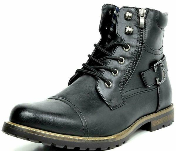 BRUNO MARC Men Military Motorcycle Combat Riding Ankle Leather Boots Size 6.5 15