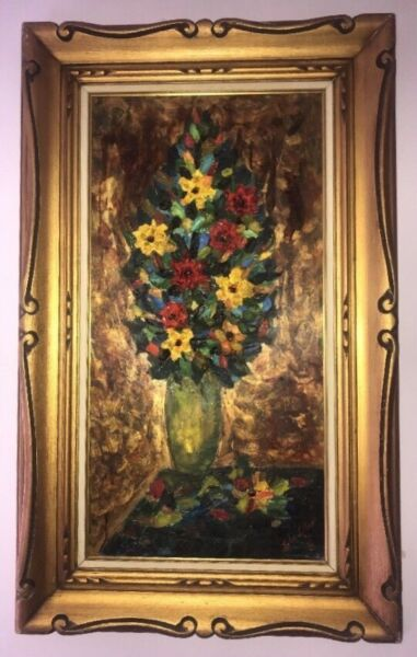 1966 Lola Lieber Painting. Raised Painting 3D Flower In Vase. Signed By Artist.