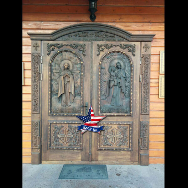 Restoration of the church (production of carved wood products) Doors stairs...