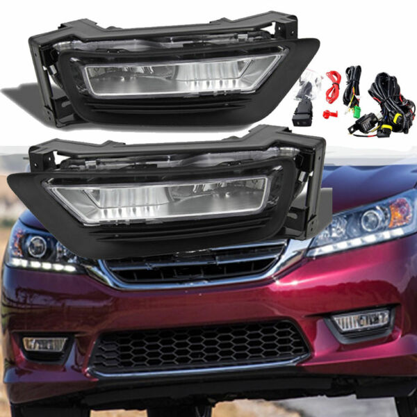 for 2013 2015 Honda Accord Sedan 4Dr Front Bumper Fog Lights Lamps Assembly LR