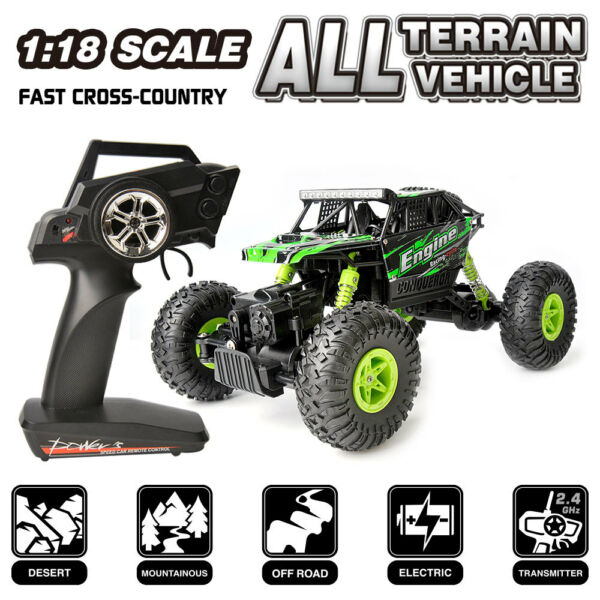 2.4G Remote Control RC Rock Car 1/18 Scal 4WD High Speed Drift Off Road Buggy