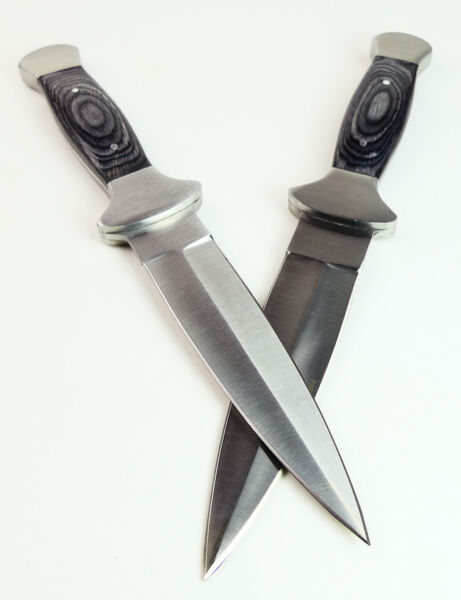 TWO 2 BLACK WOOD COWBOY BOOT KNIVES Pair Western Double Edge Stealth Dagger