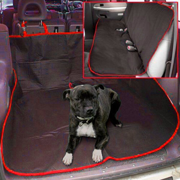 NEW 2 IN 1 WATERPROOF CAR REAR BACK SEAT COVER PET DOG PROTECTOR BOOT MAT LINER GBP 7.95