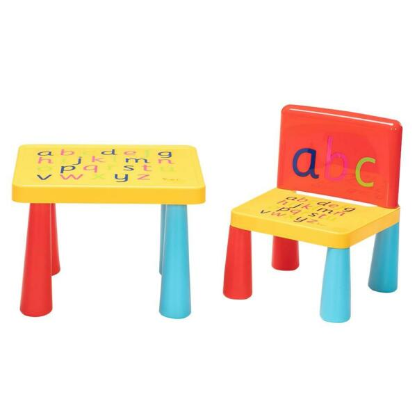 NEW Kid Plastic Table and Chair Set Furniture Activity Toddler Toy Play Home