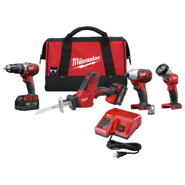 Milwaukee 2695-24 M18 Cordless Lithium-Ion 4-Tool Combo Kit New