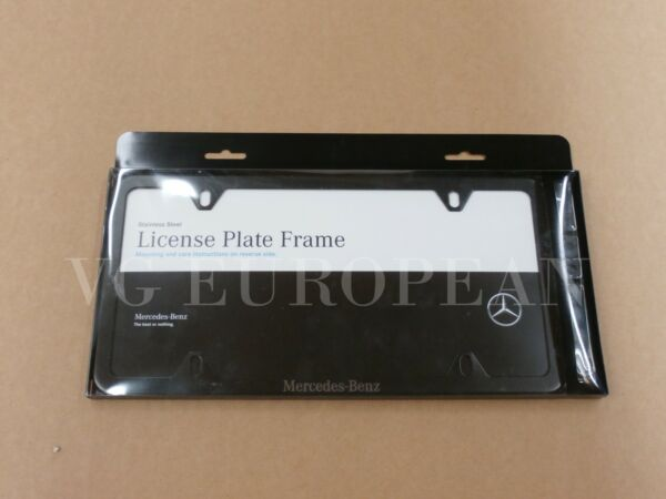 Mercedes Benz Genuine BLACK Stainless Steel Slimline Laser License Plate Frame